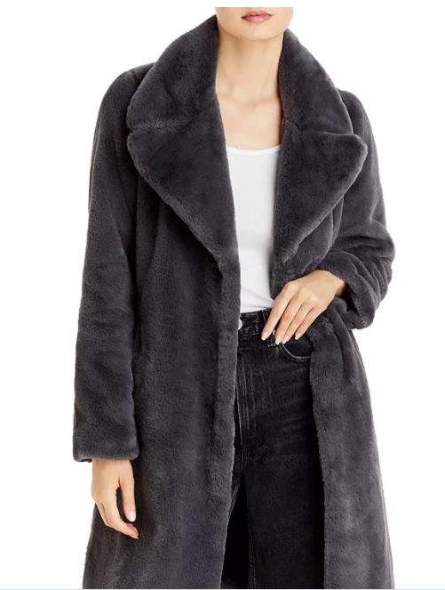 Aqua Faux-Fur Coat With Wide Lapels