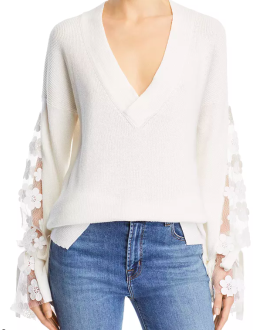 French Connection Caballo Floral-Lace Sleeve Sweater