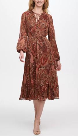 Tommy Hilfiger Balloon-Sleeve Paisley-Print Midi Dress