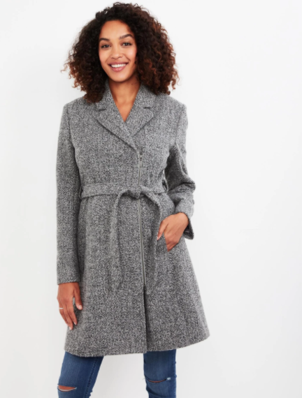 Belted Wool Maternity Coat