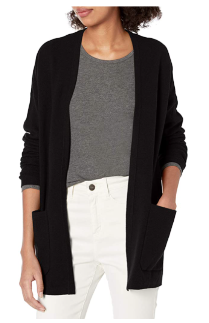 Daily Ritual Women's Ultra-Soft Milano Stitch Patch-Pocket Boyfriend Cardigan Sweater