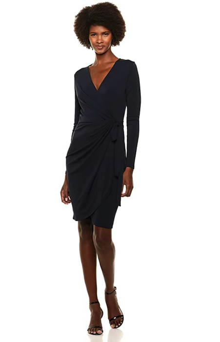 Lark & Ro Women's Classic Long Sleeve V-Neck Compact Matte Jersey Wrap Dress