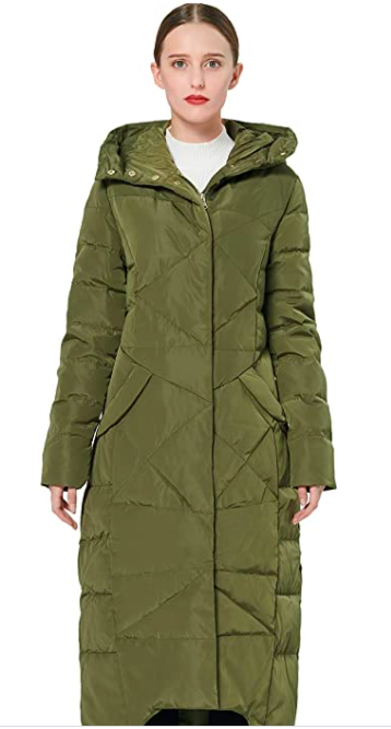 Orolay Quilted Down Jacket Long Winter Coat Maxi Hooded Puffer Jacket