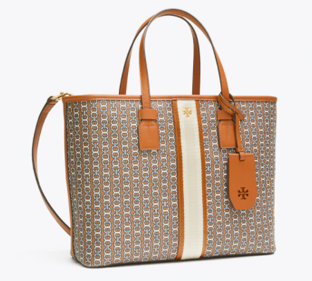 Tory Burch Gemini Link Canvas Small Top-Zip Tote Bag