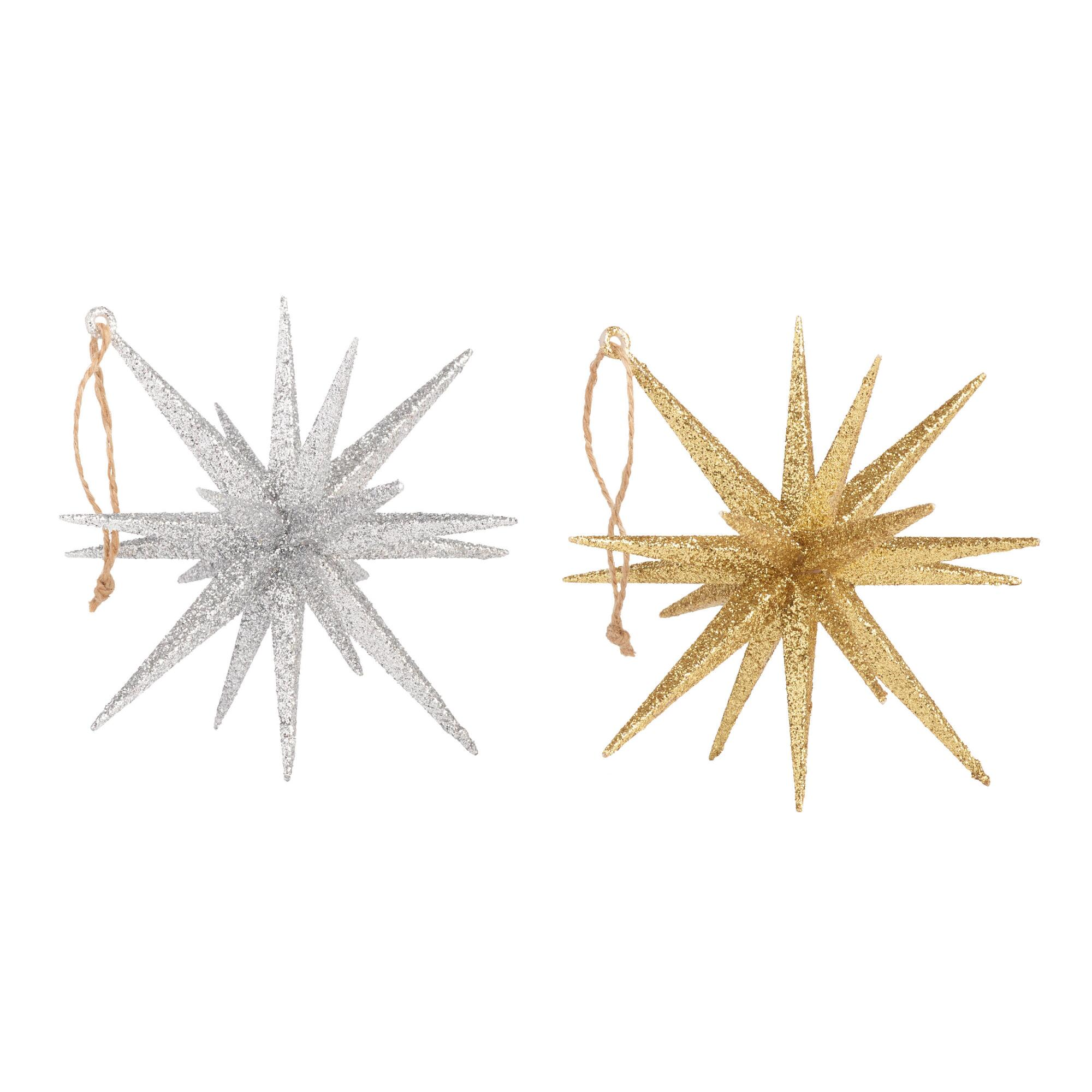 World Market Glittered Silver And Gold 18 Point Star Ornaments Set of 2