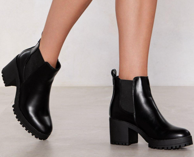 Chelsea Faux Leather and Block Heel Boots