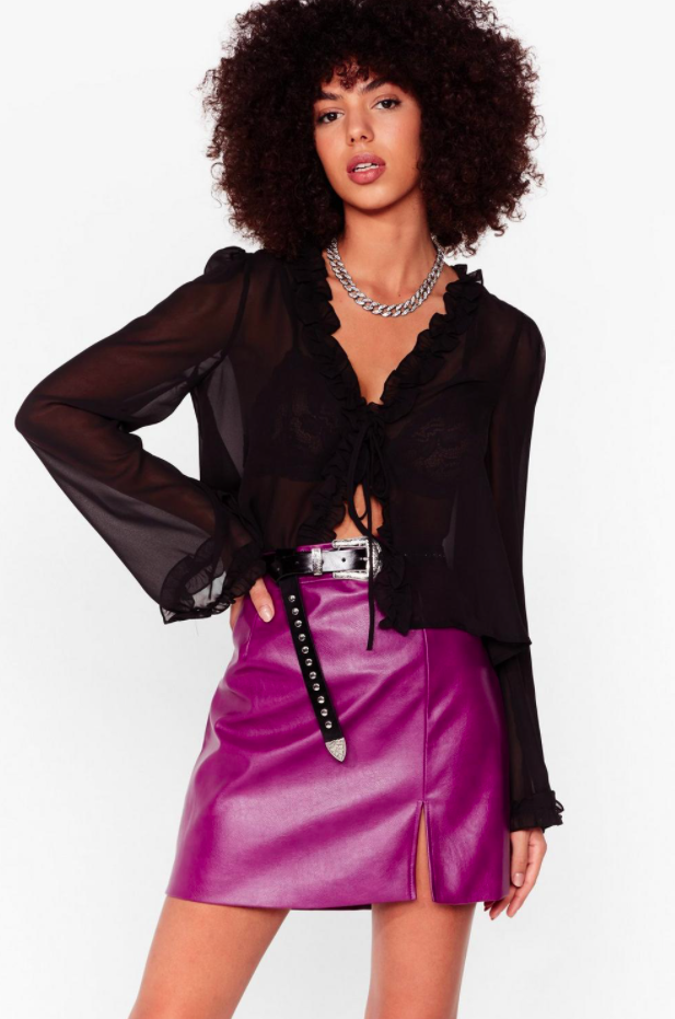 Nasty Gal Faux Leather Split Leg Mini Skirt