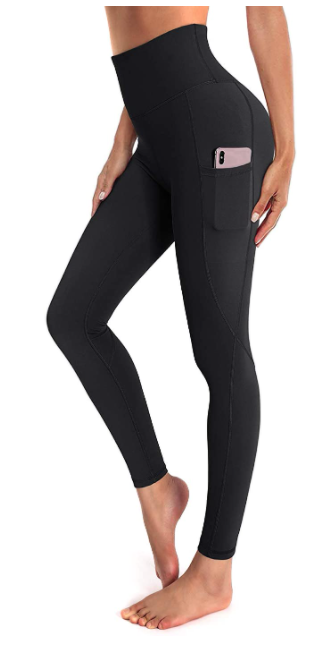 OUGES Womens High Waist Yoga Pants with Pockets Workout Running Leggings