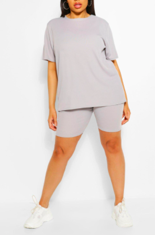 Boohoo Plus Rib T-Shirt And Cycle Short Two-Piece