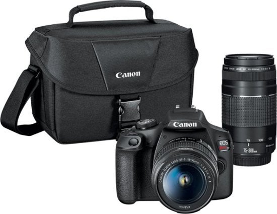 Canon - EOS Rebel T7 DSLR Video Two Lens Kit with EF-S 18-55mm and EF 75-300mm Lenses