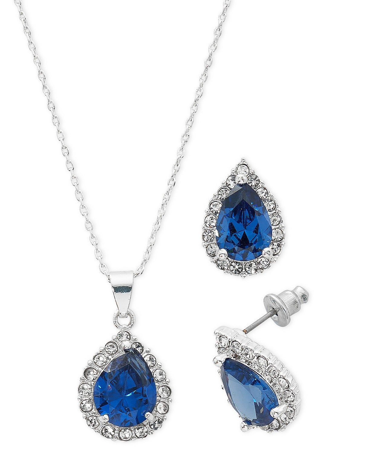Fine Silver Plate Cubic Zirconia Teardrop Necklace and Stud Earring Set