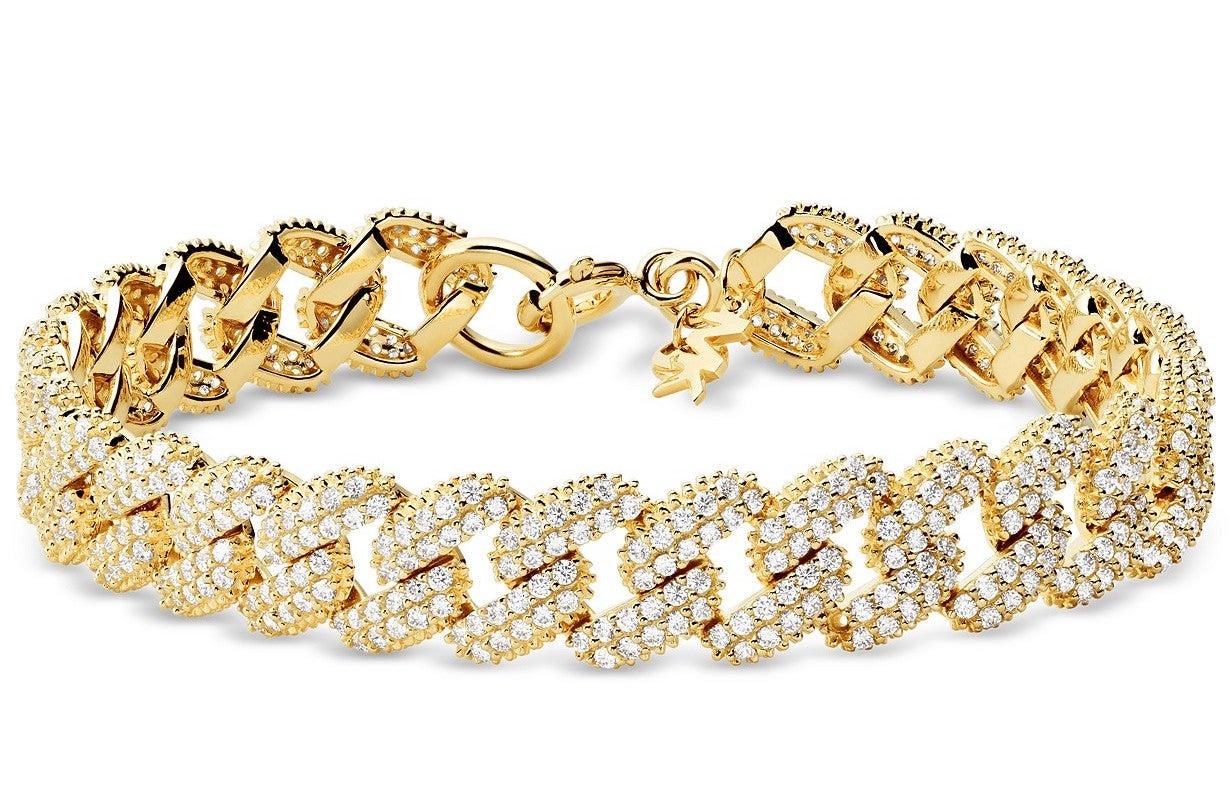 Gold-Tone Sterling Silver Cubic Zirconia Link Statement Bracelet