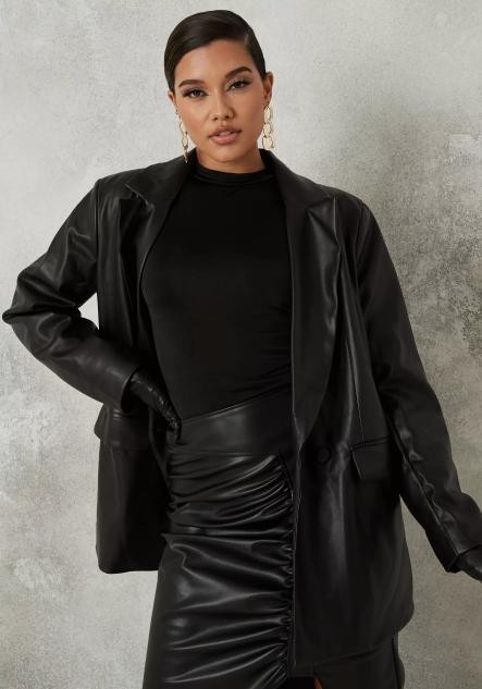 Missguided Black Faux leather Blazer