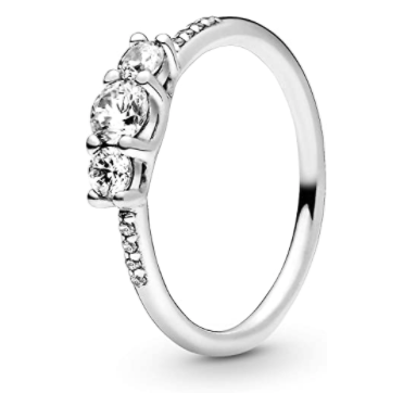 Pandora Clear Three-Stone Cubic Zirconia Ring in Sterling Silver