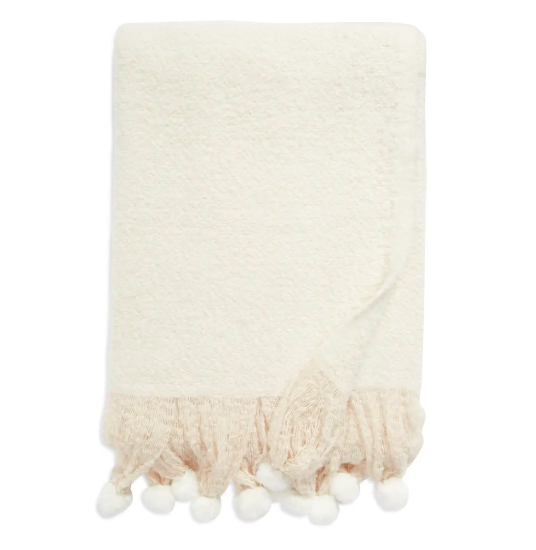 Rachell Parcell Brushed Faux Fur Pompom Throw Blanket