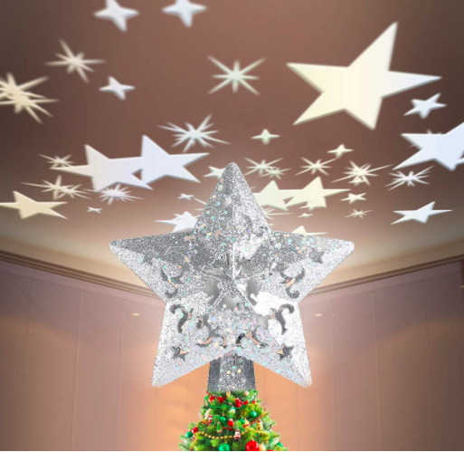 Tenflyer LED Star Christmas Tree Topper Light with White Rotating Star Projector