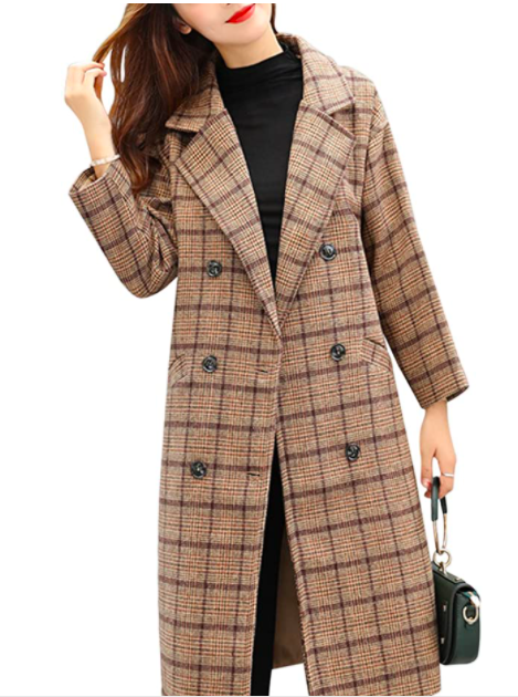 Tanming Women's Double Breasted Long Plaid Wool Blend Pea Coat