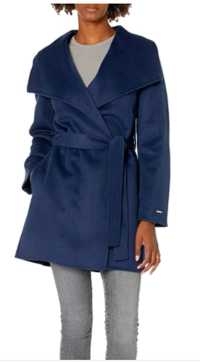 T Tahari Women's Classic Double Face Wool Blend Wrap Coat
