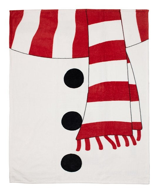 Safdie & Co. Inc White & Red Snowman Ribbed Flannel