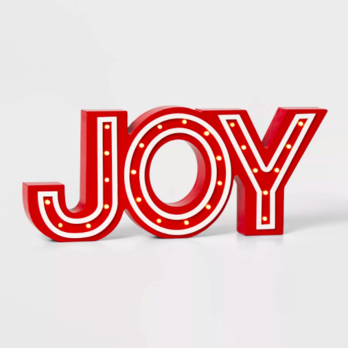 Wondershop Lit Joy Marquee Decorative Sign Red/White