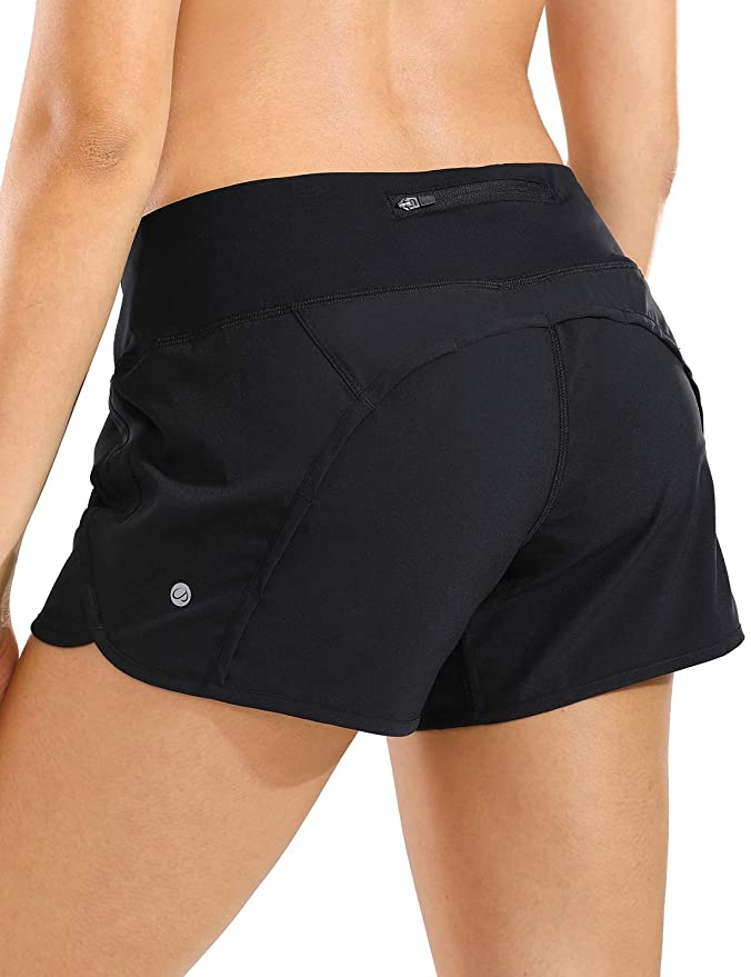 CRZ Yoga Quick-Dry Athletic Sports Running Workout Shorts with Zip Pocket - 4 Inches