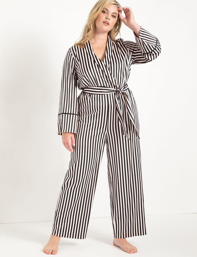 Eloquii Piping Trimmed Lounge Jumpsuit