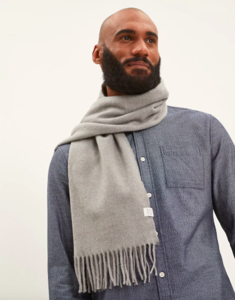 Frank and Oak Recycled polyester scarf in Vintage Grey