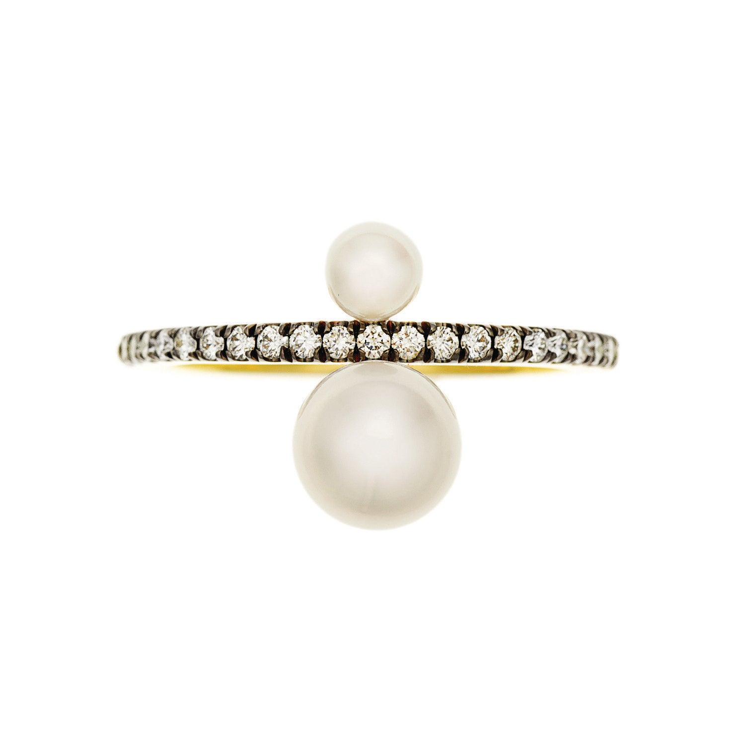 Jemma Wynne Prive White Pearl and Pave Diamond Ring