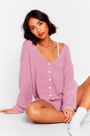 Nasty Gal What a Pearl Wants Knit Shorts Lounge Set