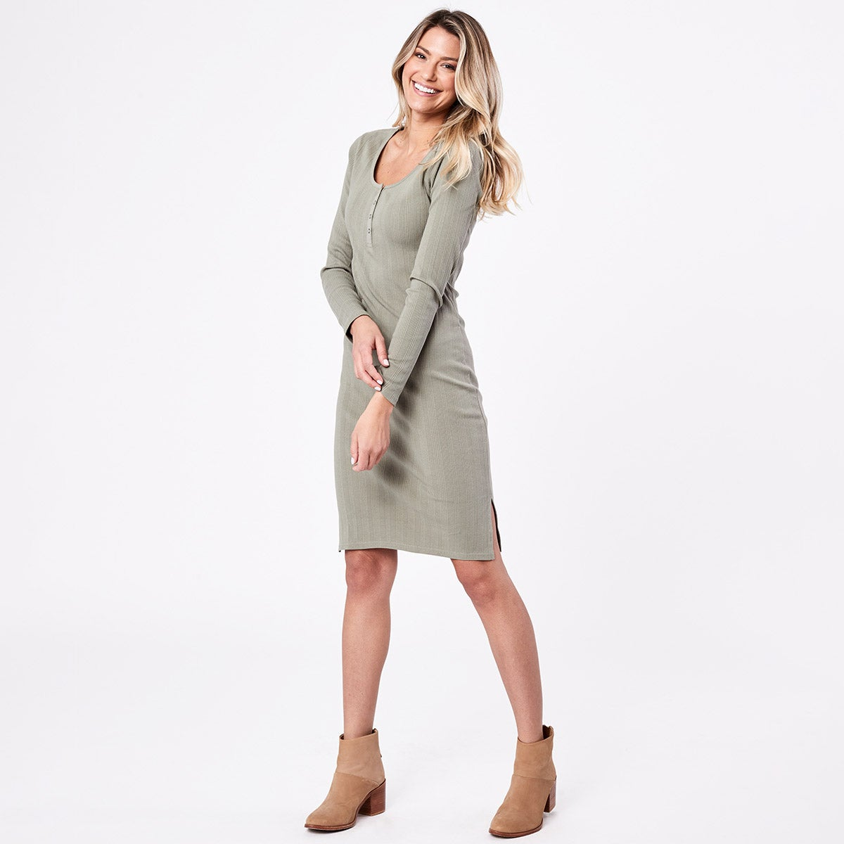Pact Rib-Fit Henley Dress
