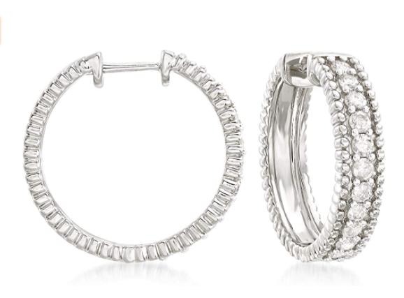 Ross-Simons 1.00 ct. t.w. Diamond Beaded Hoop Earrings in Sterling Silver