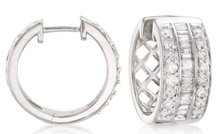 Ross-Simons 1.00 ct. t.w. Baguette and Round Diamond Hoop Earrings in Sterling Silver or 18kt Gold over Sterling Silver