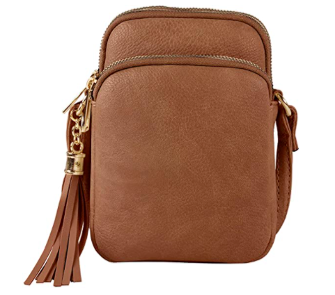 MALI+LILI, Women's Josie Stylish Lightweight Triple Compartment Cellphone Crossbody Bag With Tassel