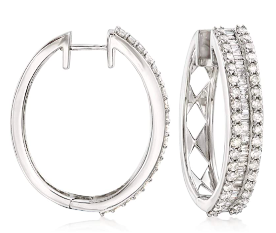 Ross-Simons 3.00 ct. t.w. Baguette and Round Diamond Hoop Earrings in Sterling Silver