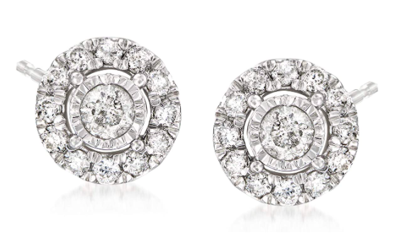 Ross-Simons 1.00 ct. t.w. Diamond Earrings in Sterling Silver