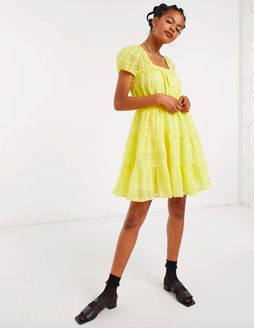 & Other Stories Eco Cotton Square Neck Smock Dress in Yellow