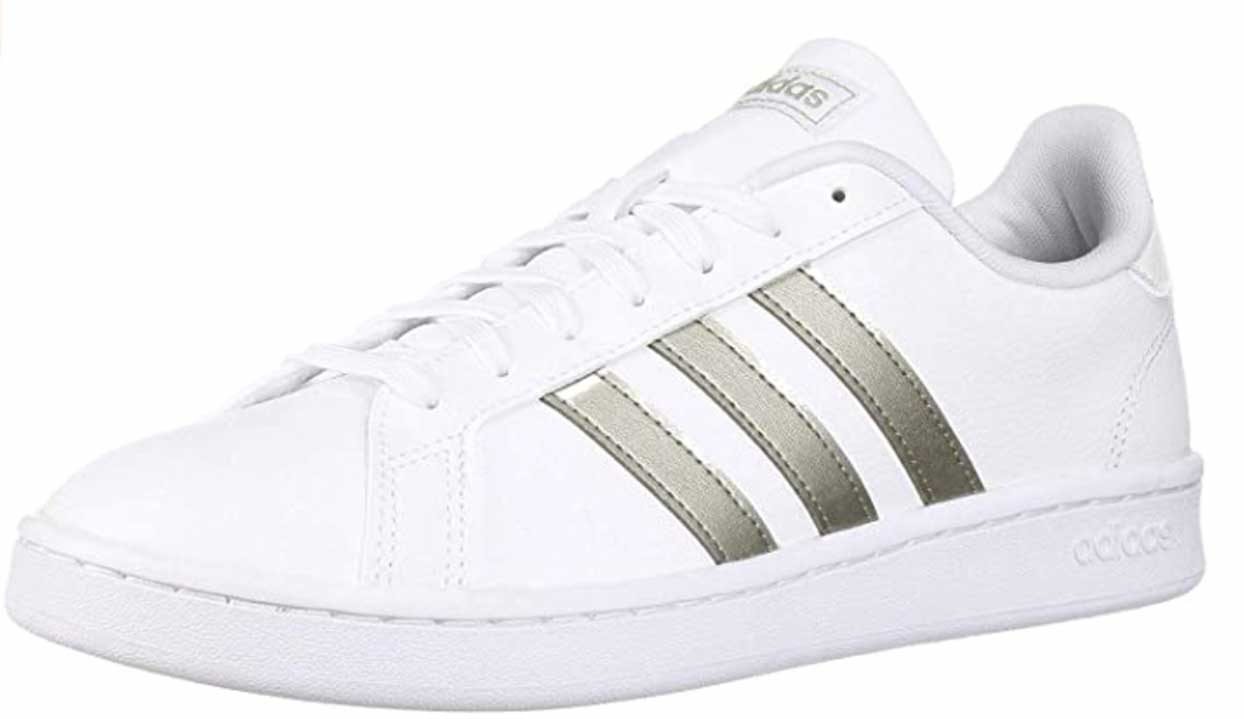 adidas Women's Grand Court Sneaker gold stripes on white shoes