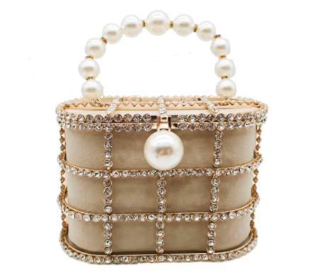 Amazon Synthetic Pearl Top-Handle Metal Bucket Bag