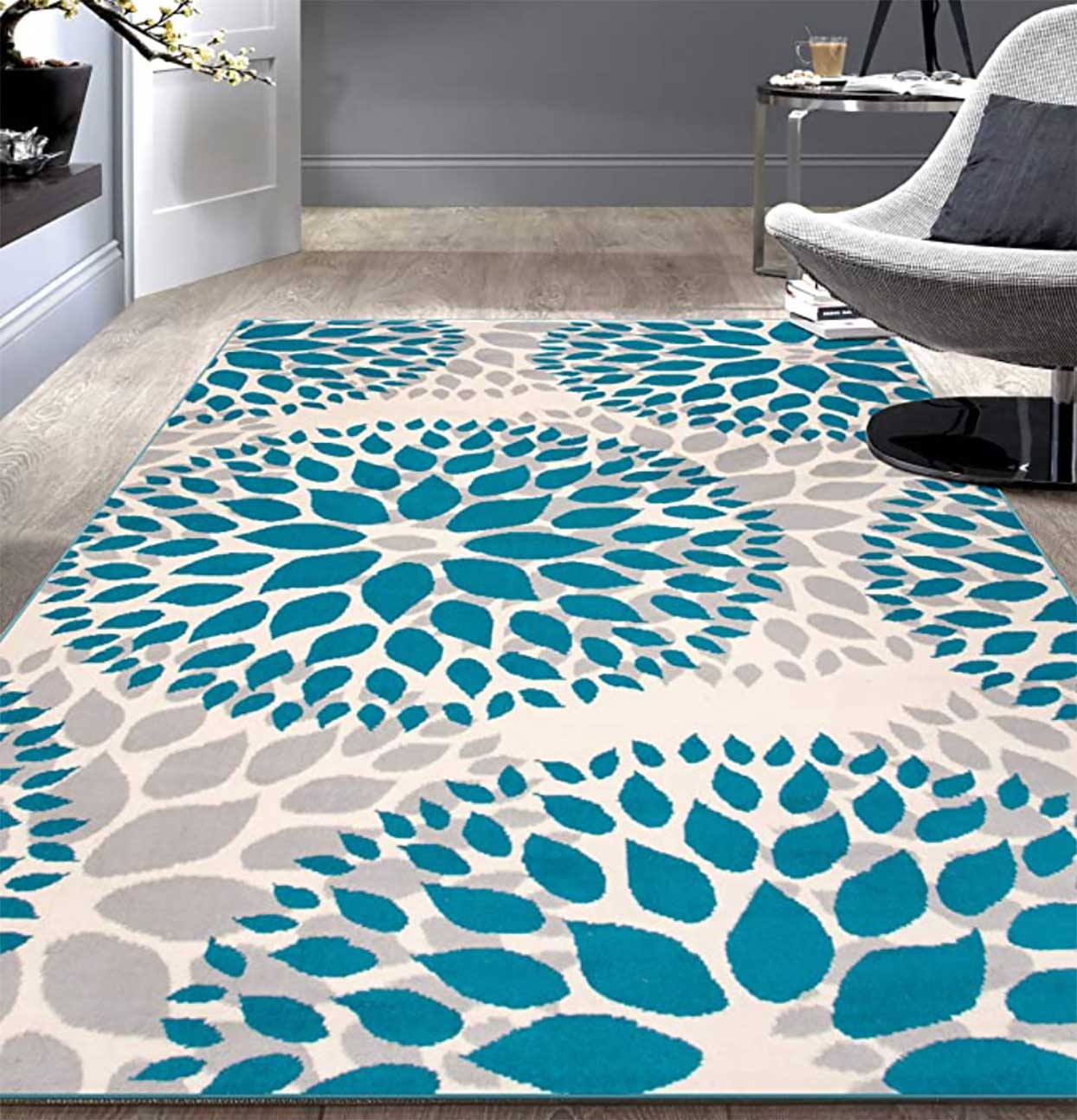 Modern Designer Area Rug with Floral Circles