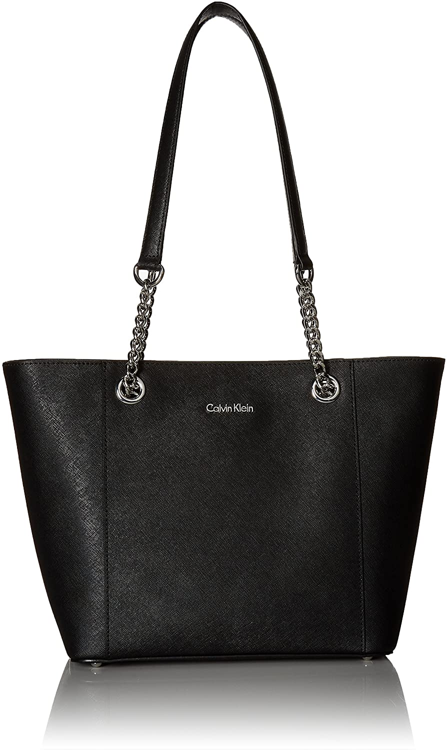 Calvin Klein Women's Hayden Saffiano East/West Top Zip Chain Tote