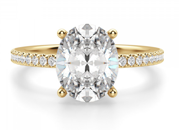 Diamond Nexus Basket Set Accented Oval Cut Engagement Ring