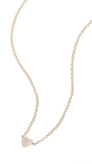EF Collection 14k Diamond Single Mini Heart Necklace