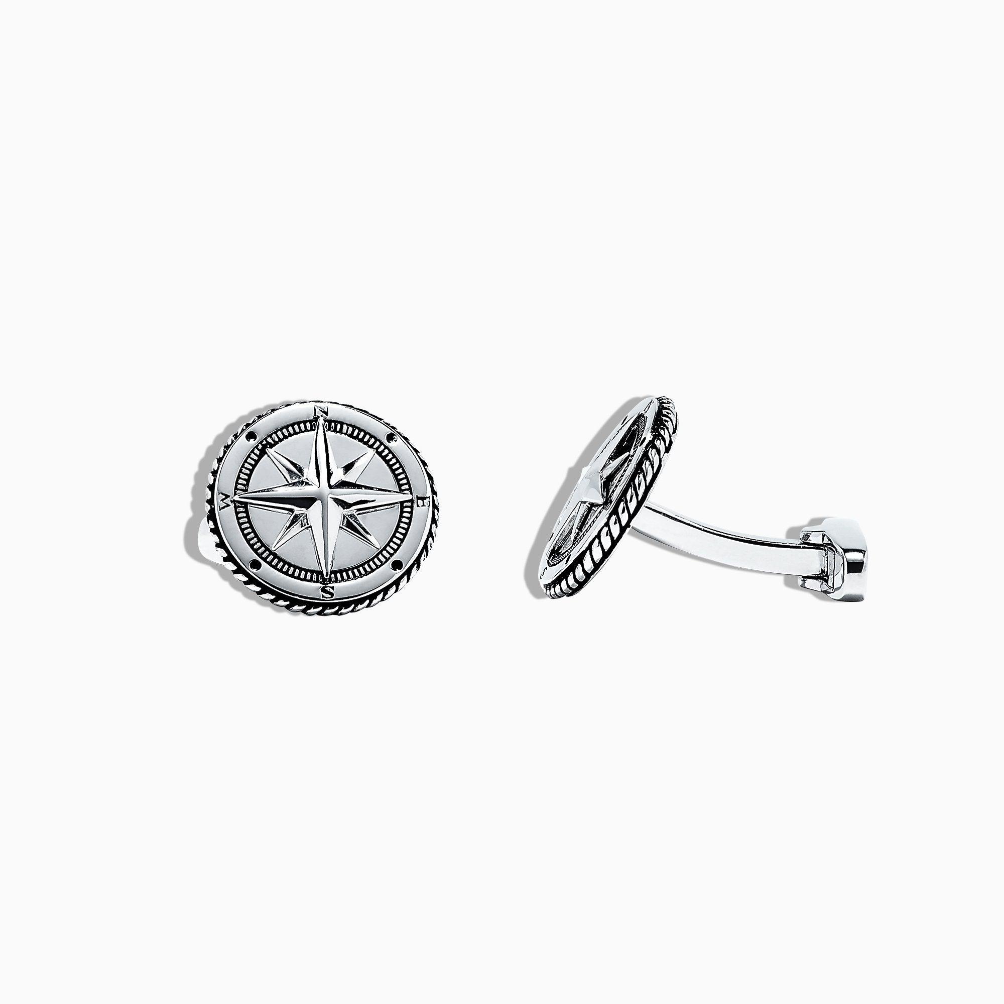 Effy 925 Sterling Silver Compass Cufflinks