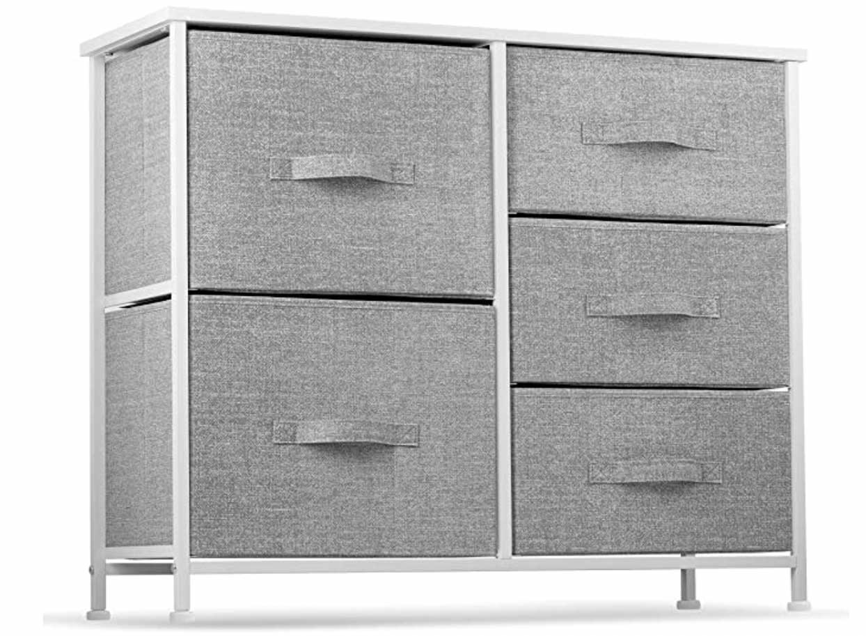 5 drawer fabric storage chest