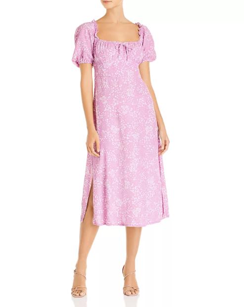 Faithfull the Brand Bette Tie-Detail Midi Dress