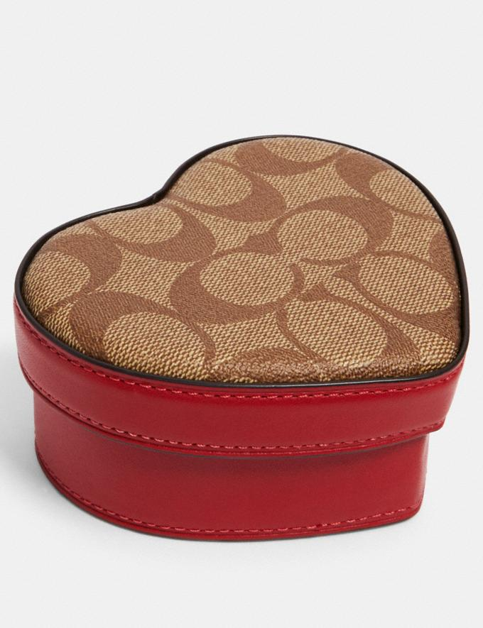 Coach Heart Trinket Box In Signature Canvas