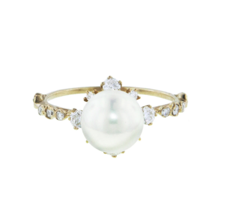 Kataoka Pearl Snowflake Beige Gold Diamond Ring