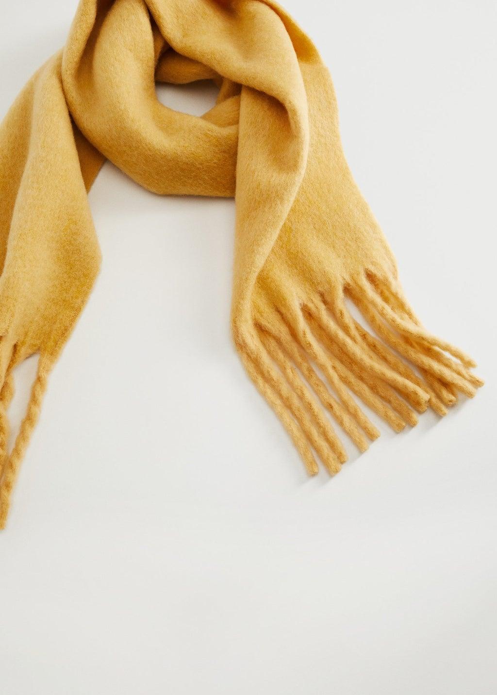 Mango Fringed Edge Wool-Blend Scarf
