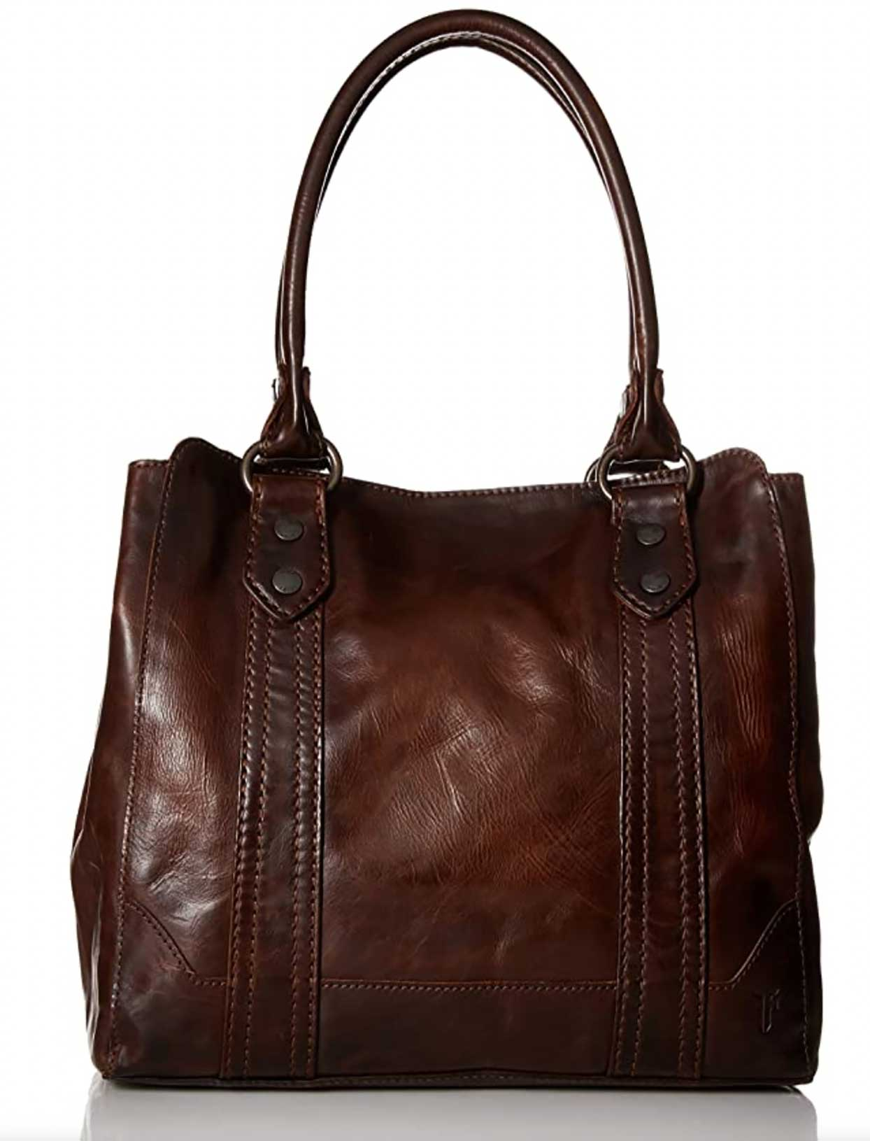 All-leather Frye Melissa Tote with a 9-inch shoulder strap and snap closure
