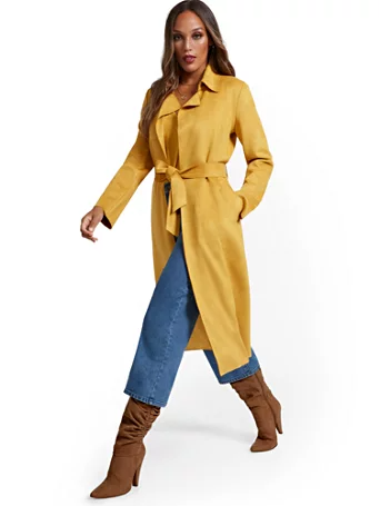 New York & Company Faux-Suede Wrap Trenchcoat